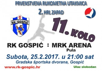 U subotu rukometna utakmica Gospić-Arena