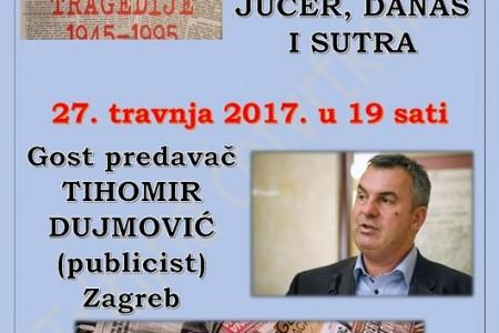 Tihomir Dujmović u Ličkom Osiku govori o tragedijama hrvatskih novinara
