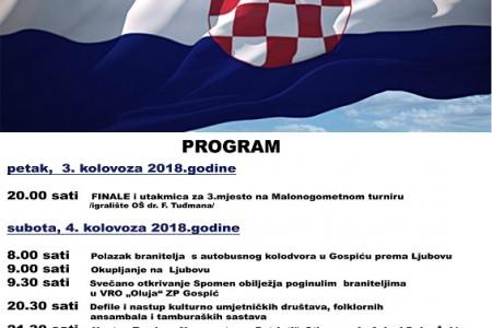 Grad Gospić objavio program obilježavanja Dana pobjede i domovinske zahvalnosti i Dana hrvatskih branitelja