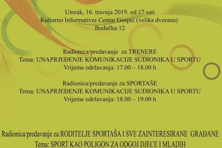 Danas u KIC-u Gospić radionice/predavanja iz područja sportske psihologije
