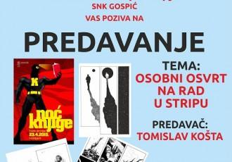 """Večeras povodom manifestacije """"Noć knjige"""" u gospićkoj knjižnici predavanje o stripu"""