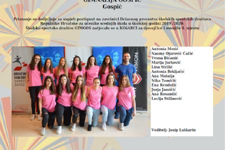BRAVO: košarkašice  gospićke gimnazije, društvo  GIMGOS,   četvrte u državi!