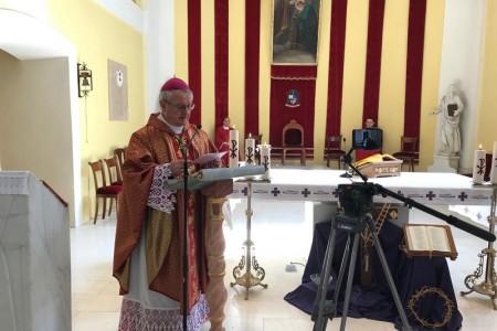 Biskup Zdenko Križić predvodio je misno slavlje na Cvjetnicu , misa prenošena putem facebooka