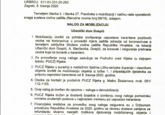 Nalog za mobilizaciju Učeničkog doma Gospić  MUP izdao  8.travnja