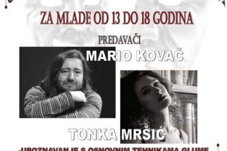 Prijavite se: Tonka Mršić i Mario Kovač podučavat će mlade Gospićane glumu