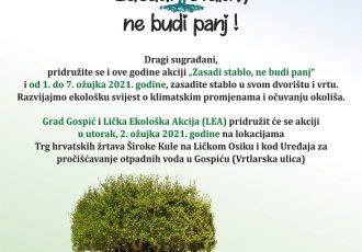 """Grad Gospić i Lička ekološka akcija u utorak u nacionalnoj kampanji """"Zasadi stablo-ne budi panj"""""""