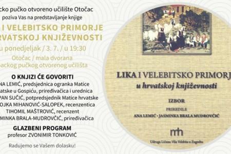U Otočcu predstavljanje knjige o Lici i velebitskom primorju u hrvatskoj književnosti