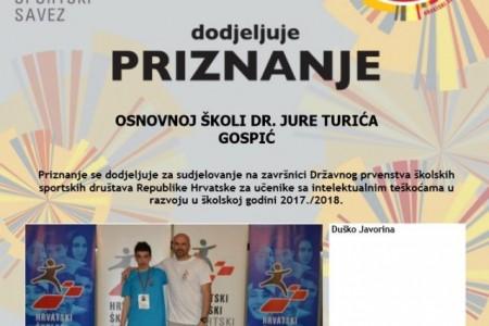 Duško Javorina ostvario još jedan veliki uspjeh gospićkog školskog sporta