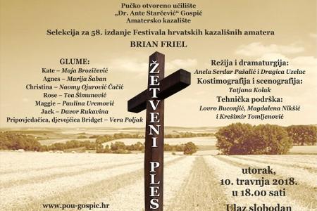 Žetveni ples gospićkog Amaterskog kazališta večeras u selekciji za nacionalnu smotru glumaca amatera