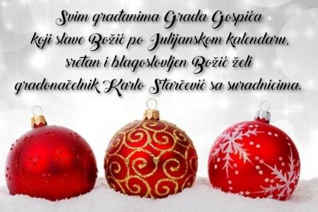 Gradonačelnik Karlo Starčević čestitao Božić svima koji ga slave po julijanskom kalendaru