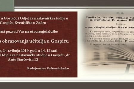 Ne propustite: danas izložba povodom 100 godina obrazovanja učitelja u Gospiću