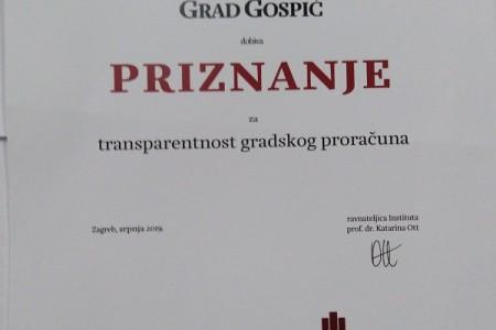 Grad Gospić dobio priznanje za transparentnost gradskog proračuna
