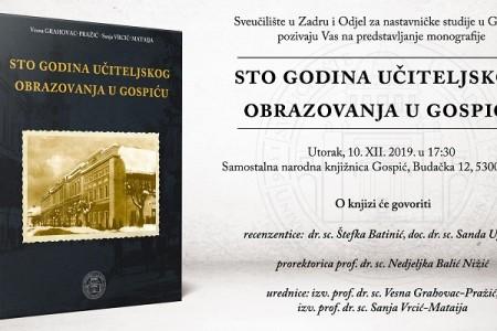 """Večeras predstavljanje monografije """"Sto godina učiteljskog obrazovanja u Gospiću"""""""