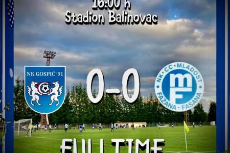Nakon remija protiv Mladosti Gospić 91 i dalje treći na ljestvici četvrte nogometne lige