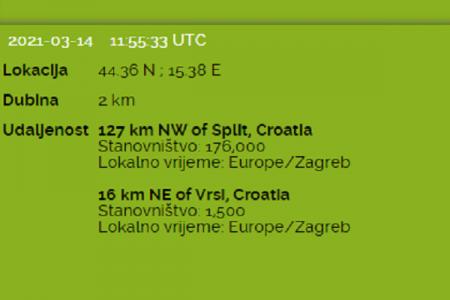 Potres na sjeveru Dalmacije  u 12:55 osjetio se i u Gospiću
