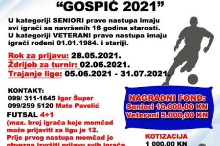 """Ne propustite prijaviti svoju ekipu na Ljetnu malonogometnu ligu """"Gospić 2021""""!"""